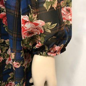 Soul Cake Tops - Coral Roses SHEER Blouse Top Shirt L